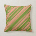 [ Thumbnail: Dark Salmon & Green Colored Lined/Striped Pattern Throw Pillow ]