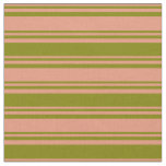 [ Thumbnail: Dark Salmon & Green Colored Stripes/Lines Pattern Fabric ]