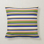 [ Thumbnail: Dark Salmon, Green, Dark Blue & Beige Colored Throw Pillow ]