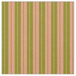 [ Thumbnail: Dark Salmon & Green Lined/Striped Pattern Fabric ]