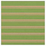 [ Thumbnail: Dark Salmon & Green Lines Fabric ]