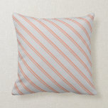 [ Thumbnail: Dark Salmon & Light Grey Stripes Pattern Pillow ]