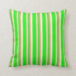 [ Thumbnail: Dark Salmon, Light Yellow, and Lime Stripes Pillow ]