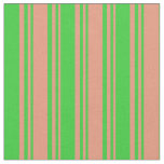 [ Thumbnail: Dark Salmon & Lime Green Colored Lines Fabric ]