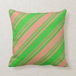 [ Thumbnail: Dark Salmon & Lime Green Colored Lines Pillow ]