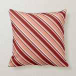 [ Thumbnail: Dark Salmon, Maroon & Mint Cream Lines Pillow ]