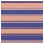 [ Thumbnail: Dark Salmon & Midnight Blue Stripes/Lines Pattern Fabric ]