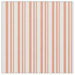 [ Thumbnail: Dark Salmon & Mint Cream Stripes Pattern Fabric ]