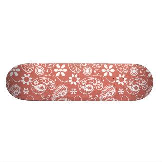 Dark Salmon Paisley; Floral Skateboard