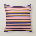 [ Thumbnail: Dark Salmon, Pink, Dark Goldenrod & Midnight Blue Throw Pillow ]