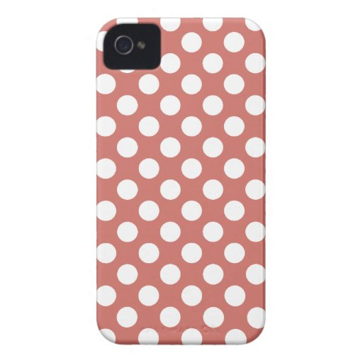 Dark Salmon Polka Dots iPhone 4 Case-Mate Cases