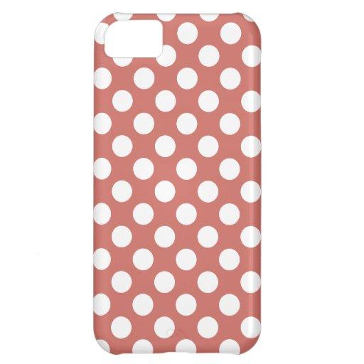 Dark Salmon Polka Dots iPhone 5C Case