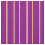[ Thumbnail: Dark Salmon & Purple Colored Lined Pattern Fabric ]