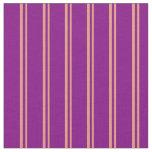 [ Thumbnail: Dark Salmon & Purple Colored Lined Pattern Fabric ]