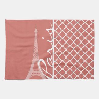 Dark Salmon Quatrefoil; Eiffel Tower Towels