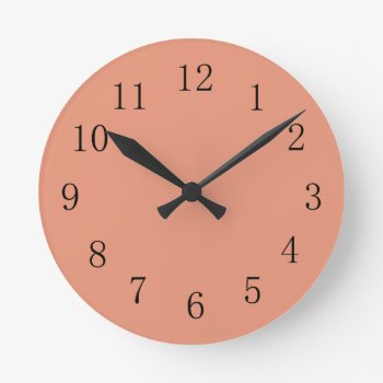 Dark Salmon Round (medium) Wall Clock by Red_Clocks at Zazzle
