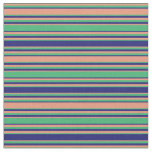 [ Thumbnail: Dark Salmon, Sea Green & Midnight Blue Pattern Fabric ]