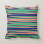 [ Thumbnail: Dark Salmon, Sea Green & Midnight Blue Pattern Throw Pillow ]