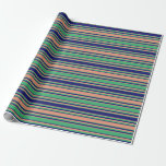 [ Thumbnail: Dark Salmon, Sea Green & Midnight Blue Pattern Wrapping Paper ]