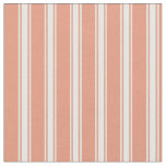 [ Thumbnail: Dark Salmon & White Colored Lines Pattern Fabric ]