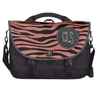 Dark Salmon Zebra Stripes; Chalk look Commuter Bags