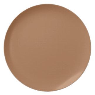 Dark Sandy Beige Coffee Caramel Brown Color Only Plate