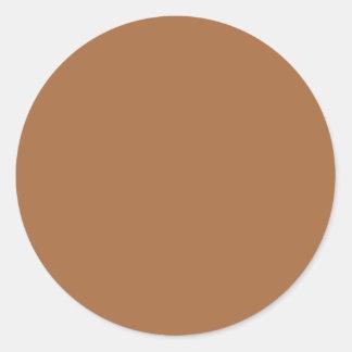 Dark Sandy Beige Coffee Caramel Brown Color Only Round Sticker