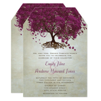 Dark Sangria Heart Leaf Tree Wedding Invites
