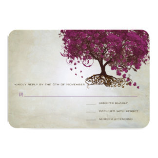 Dark Sangria Heart Leaf Tree Wedding RSVP Card