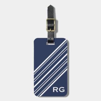 Dark Sapphire Blue and White Pinstripe Monogram Bag Tag