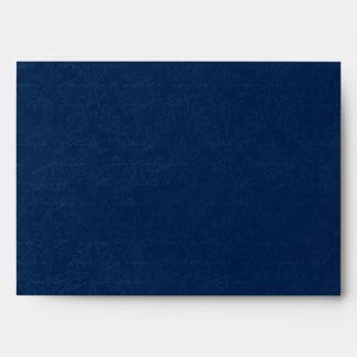 Dark Sapphire Blue Damask Custom Linen Wedding A-7 Envelope