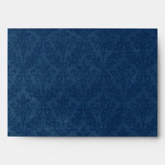 Dark Sapphire Blue Damask Custom Linen Wedding A-7 Envelopes