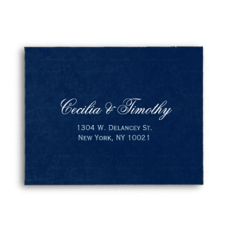Dark Sapphire Blue Damask: Wedding RSVP Linen A2 Envelopes