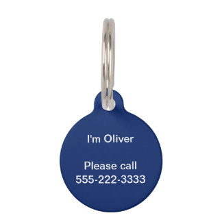 Dark Sapphire Solid Color Pet ID Tag