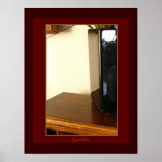 Dark Scarlet Vase 2 on Wood Shelf Poster