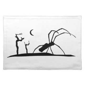 Dark Scene Silhouette Style Graphic Illustration Cloth Placemat