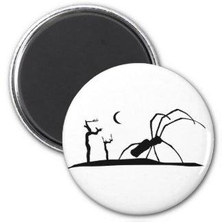 Dark Scene Silhouette Style Graphic Illustration Magnet