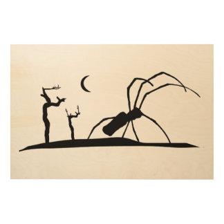Dark Scene Silhouette Style Graphic Illustration Wood Wall Art