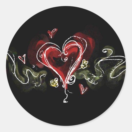 Dark Scribbly Heart Classic Round Sticker