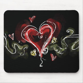 Dark Scribbly Heart Mouse Pad