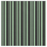 [ Thumbnail: Dark Sea Green and Black Colored Lined Pattern Fabric ]