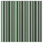 [ Thumbnail: Dark Sea Green and Black Lines Fabric ]