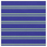 [ Thumbnail: Dark Sea Green and Blue Colored Stripes Fabric ]