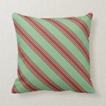 [ Thumbnail: Dark Sea Green and Brown Colored Pattern Pillow ]
