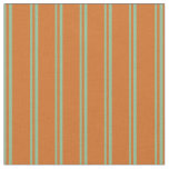 [ Thumbnail: Dark Sea Green and Chocolate Stripes Fabric ]