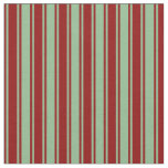 [ Thumbnail: Dark Sea Green and Dark Red Stripes Fabric ]