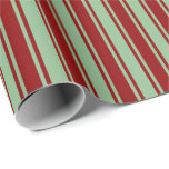 [ Thumbnail: Dark Sea Green and Dark Red Stripes Wrapping Paper ]