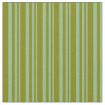 [ Thumbnail: Dark Sea Green and Green Stripes Pattern Fabric ]