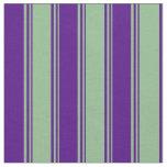 [ Thumbnail: Dark Sea Green and Indigo Lines Pattern Fabric ]