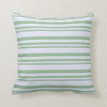 [ Thumbnail: Dark Sea Green and Lavender Striped Pattern Pillow ]